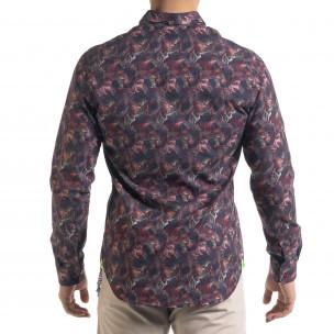 Slim fit мъжка риза десен в бордо  2