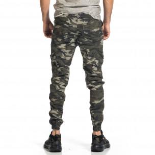 Мъжки карго панталон сиво-зелен камуфлаж  2