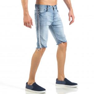 Мъжки къси дънки с бели кантове и избелял ефект  2