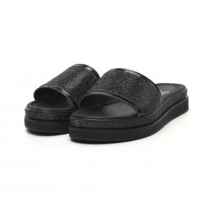 Дамски черни чехли с камъчета  2