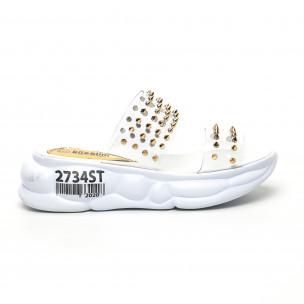 Дамски прозрачни чехли златисти шипове