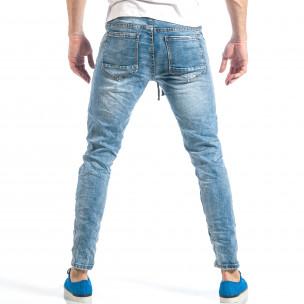 Рокерски сини мъжки дънки с ластик  2