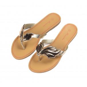 Дамски чехли с метална златиста декорация  2