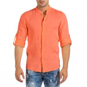 Мъжка ленена риза оранжев неон