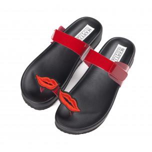 Червени дамски лачени чехли през пръста 2