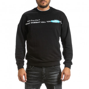 Мъжка ватирана черна блуза с принт на гърба