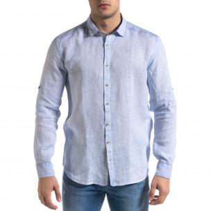 Ленена мъжка риза в светло синьо  2