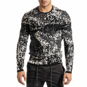 Мъжки черно-бял пуловер пикселирана шарка  2