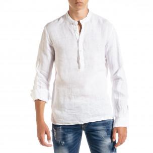 Ленена мъжка риза в бяло рустик стил