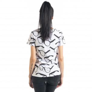 Дамска тениска Glasses в бяло  2