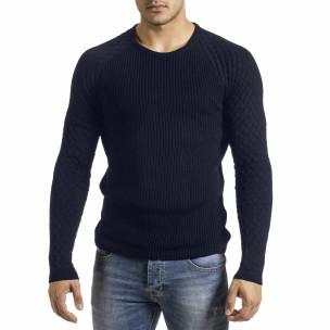 Тъмносин пуловер с реглан ръкав на ромбове  2