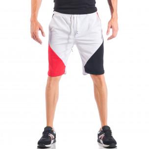 Бели мъжки шорти с червени и черни части  2