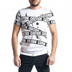 Мъжка тениска Caution в бяло