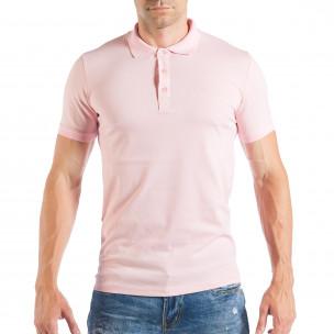 Розова мъжка тениска пике с яка