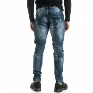 Slim fit Destroyed мъжки сини дънки  2