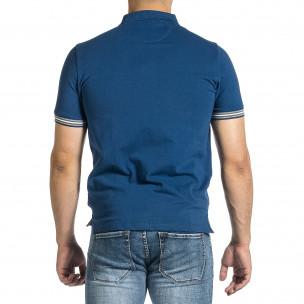 Мъжка синя тениска с яка и раирано бие  2