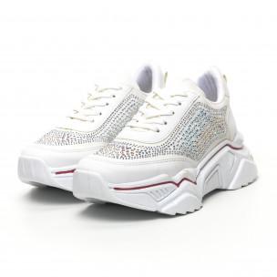 Дамски бели маратонки с камъчета 2