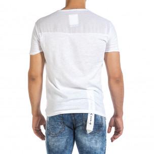 Текстурирана бяла тениска с връзка 2