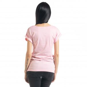 Дамска тениска с пайети в розово  2