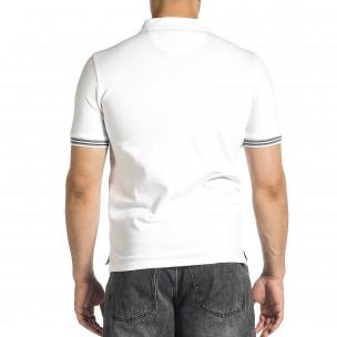 Мъжка бяла тениска с яка и раирано бие  2