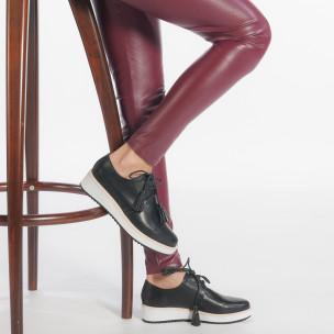 Дамски черни обувки с бели подметки 2