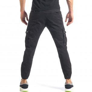 Мъжки черен карго панталон с ленти отстрани  2