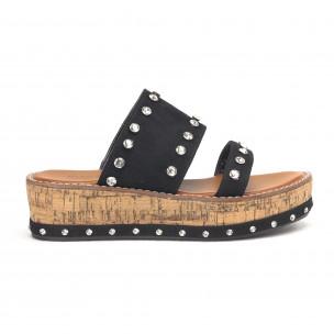 Черни дамски чехли с камъни на платформата