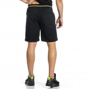 Черни мъжки шорти с неонови ивици  2