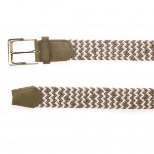 Мъжки плетен колан в бежово и бяло