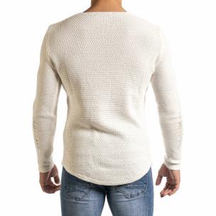 Мъжки бял пуловер структурирана плетка  2