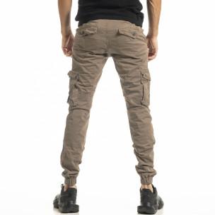 Мъжки бежов карго панталон с ластик на крачолите  2