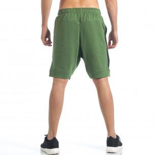 Мъжки зелени шорти с декоративен цип  2
