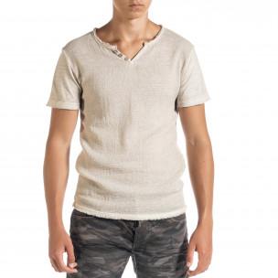 Мъжка тениска от памук и лен в бежово