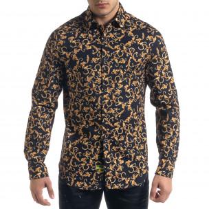 Slim fit мъжка риза флорален десен Open