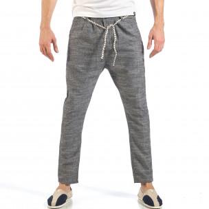 Мъжки сиви леки панталони с колан шнур