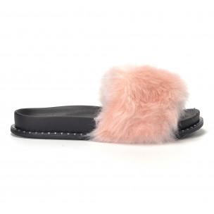 Розови дамски чехли с косъм