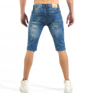 Мъжки къси Biker дънки в синьо  2