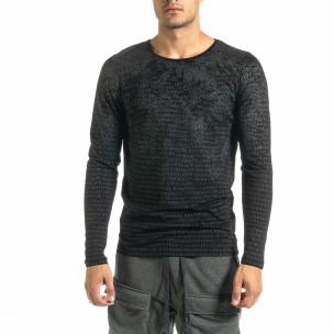 Мъжка черна блуза с принт
