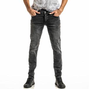 Long Slim черни дънки с избелял ефект