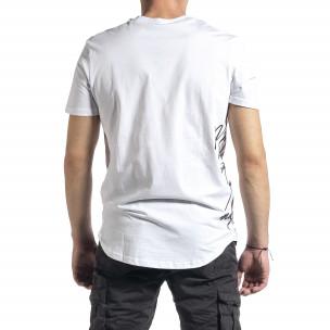 Мъжка бяла тениска страничен принт 2