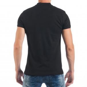 Черна мъжка тениска пике с изцапан ефект  2
