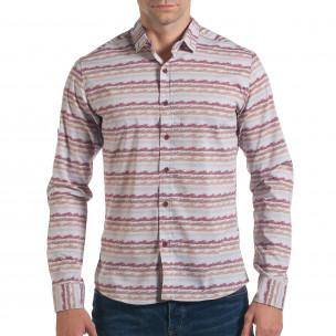 Мъжка сива риза с разноцветни черти
