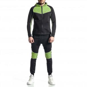 Мъжки черно-зелен анцуг Biker style