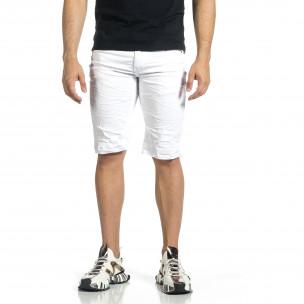 Мъжки бели намачкани къси дънки  2