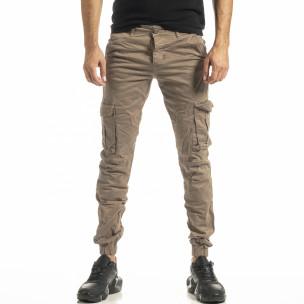 Мъжки бежов карго панталон с ластик на крачолите