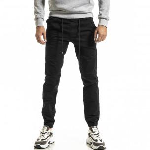 Мъжки черен панталон Jogger