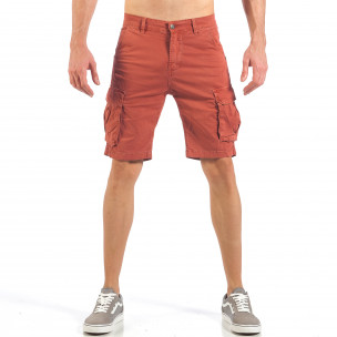 Мъжки къси карго панталони в червено