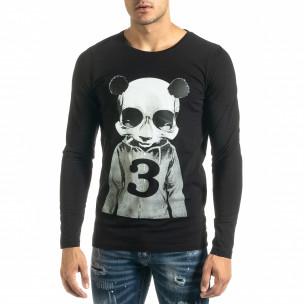 Мъжка черна блуза Panda Skull