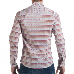 Мъжка сива риза с разноцветни черти  2