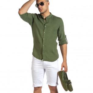 Мъжка зелена ленена риза с яка столче